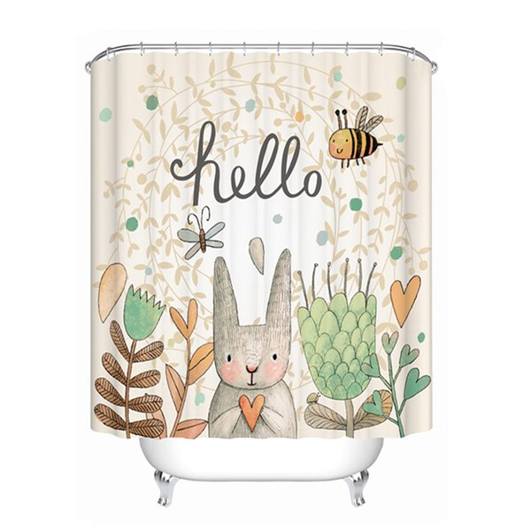 Drop Ship Hello Rabbit Shower Curtain Waterproof Mildewproof Polyester Fabric Bath Curtain Bathroom Product With 12 Hooks Gift