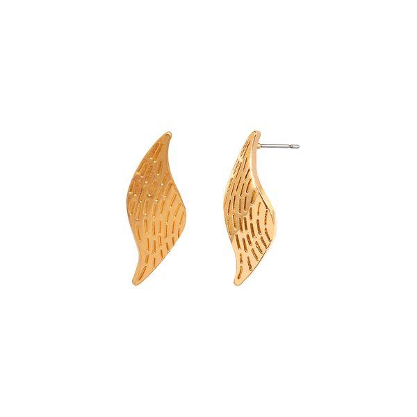 European and American fashion earrings simple personality alloy geometric leaf design earrings female silver&gold earring studs