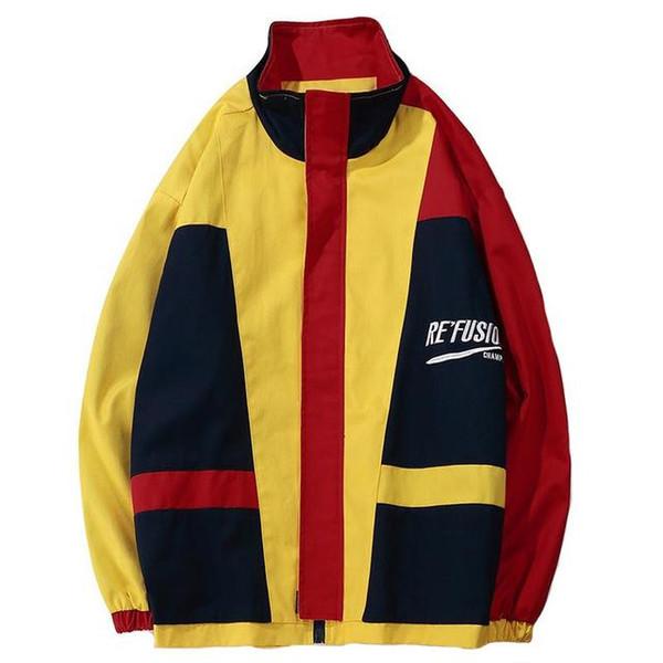 Vestes colorées Hommes Hip Hop Coupe-vent lâche Fermeture à glissière Vintage Patchwork Manteaux Casual Rétro Streetwear Jaune Automne