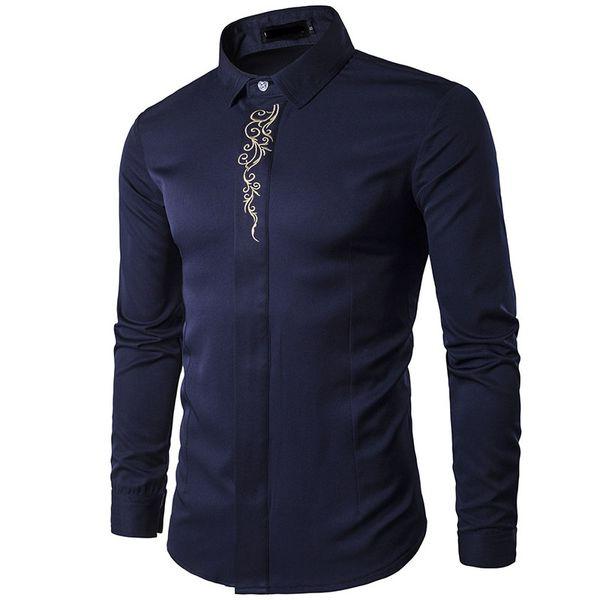 YENI 2018 İlkbahar sonbahar kıyafet yüksek dereceli nakış gizli-birbirine uzun kollu erkek giyim Smokin Abiye Gömlek