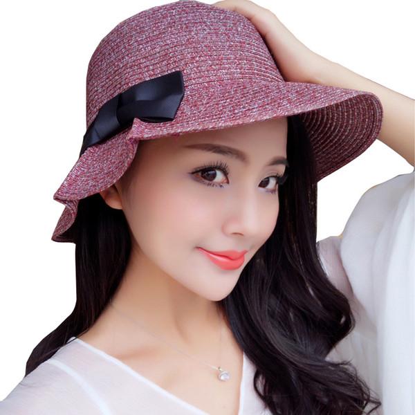 ZFQHJJ Mulheres Coreanas Meninas de Verão Macio Arco de Palha Cloche Sol Chapéu De Viagem De Praia Sol chapéus Caqui Preto café vermelho