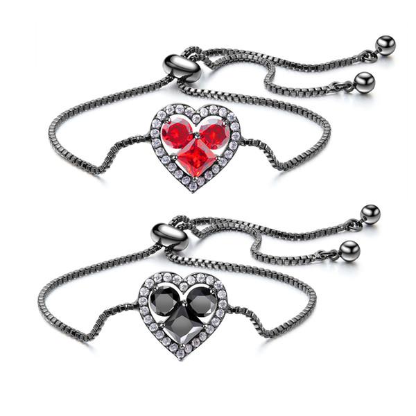 Bracelets rouges à chaîne ajustables avec breloque en forme de coeur en zircone rouge grenat