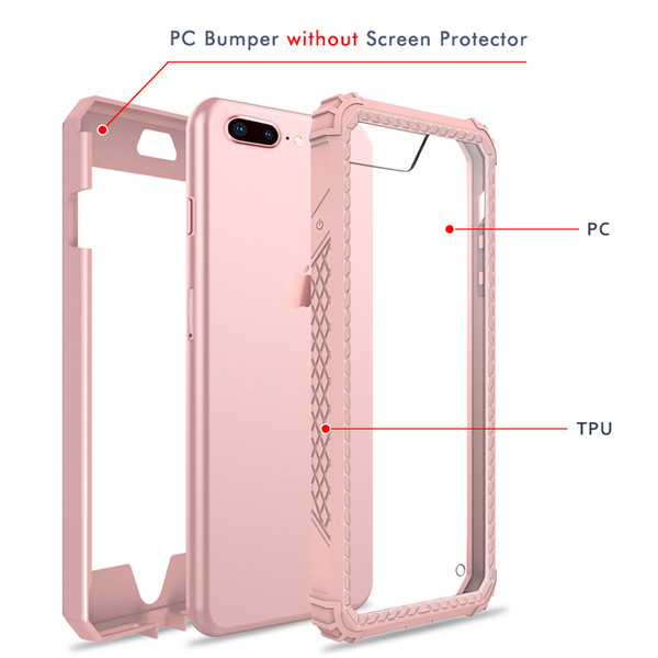 Hybrid for iphone 8 plus case Shockproof Full Body cellphone case With TPU PC 2 Layer Impact Protection designer phone case OPP Bag