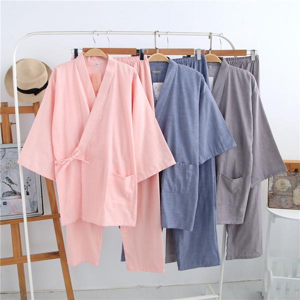 2018 Men Japanese Traditional Kimono Men's Sleepwear Lounge Home Clothing Suits Men summer style Cotton Yukata 041602