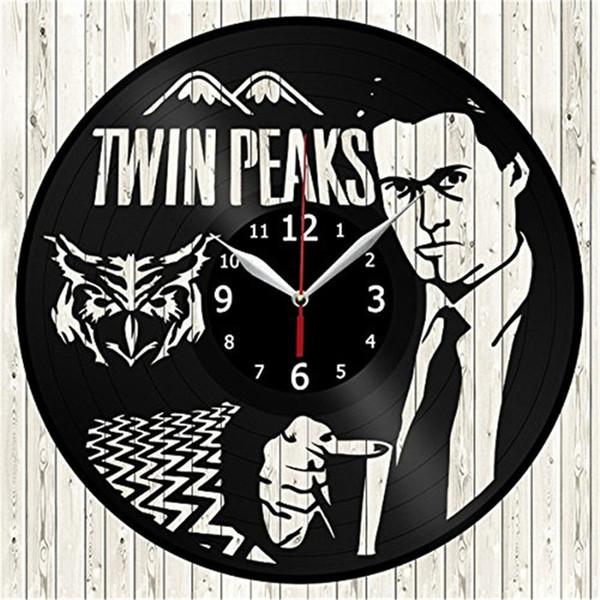 Twin Peaks Personality Vinyl Wall Clock Simple Modern Home Decor Crafts Handmade Gift Living Room Decoration Wall Art Black Quartz Clock