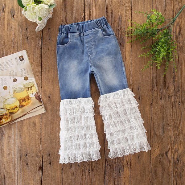Baby Girls Jeans Boot Cut Denim Lace Trouser Legs Patchwork Designer Net Yarn Pants Pockets Middle-Waisted Elastic Waist Kids Trousers 2-7T
