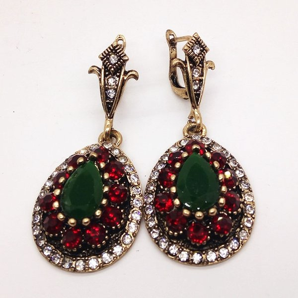 Vintage boucles d'oreilles turques pour les femmes strass rouge boucles d'oreilles goutte d'eau antique or couleur Brincos Arabesque ethnique boucles d'engagement