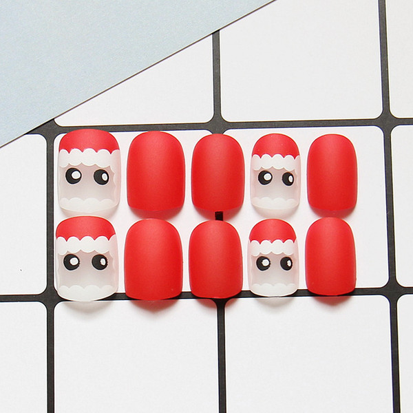 24pcs Red Matte False Nails Full Cover Artificial Santa Claus Design Fake Nails Press On Square Nail Art Tips for Christmas Gift