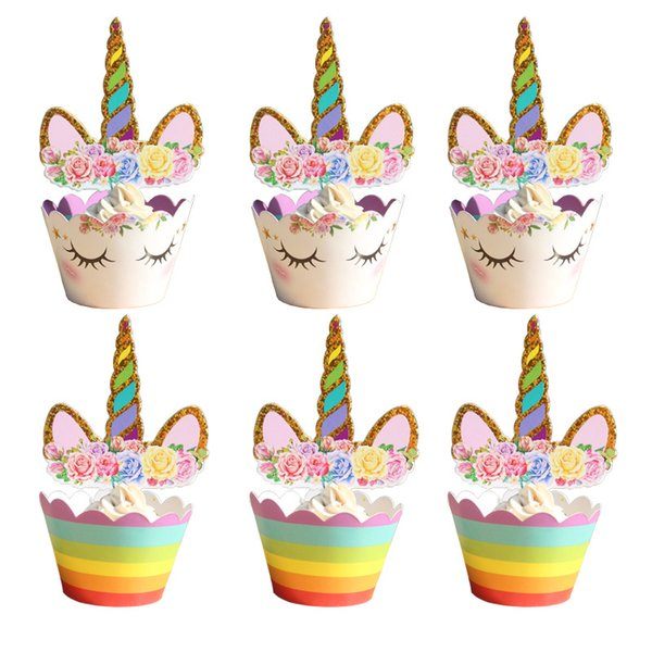 24pcs/set unicorn Cupcake Toppers and Wrappers Set Cake Toppers Decoration for Birthday Party(12pcs Cupcake Wrappers +12pcs Cake Topper)