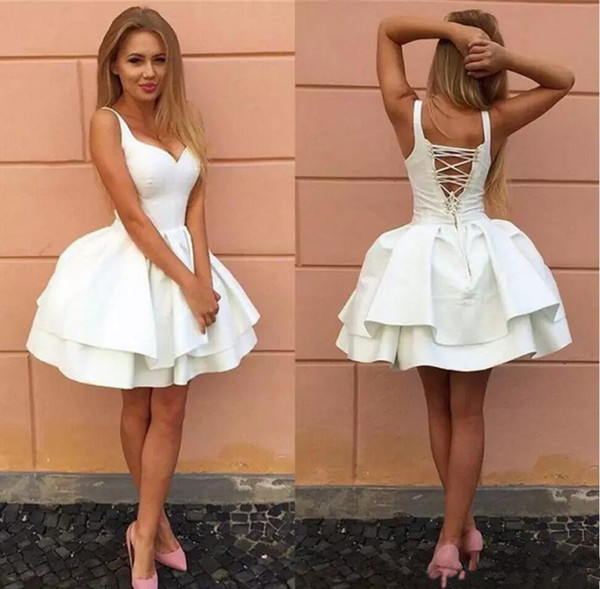 Sexy Criss-cross Straps Backless White Little Prom Dresses Tiered Satin Short Formal Party Dresses 2018 Cheap Cocktail Homecoming Dress
