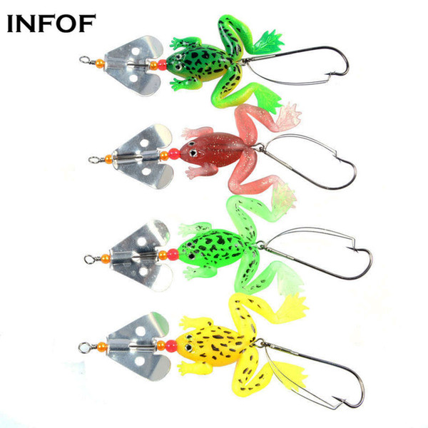 INFOF 8 pieces/lot Soft Frog Lure with Spinner Buzzbaits 3.54 0.2oz Selicone Bait Top Water Bass Carp Fishing Bait
