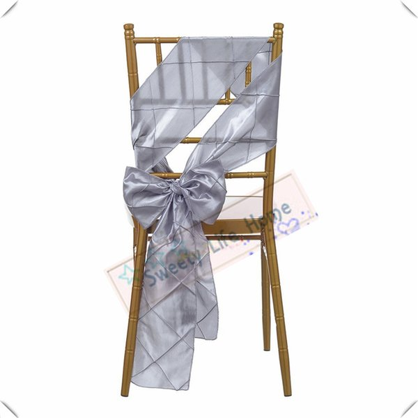 Wholesales price Free shipping/Pintuck Taffeta chair bands Silver chair sashes for chair cover Hotel decorations Colorful