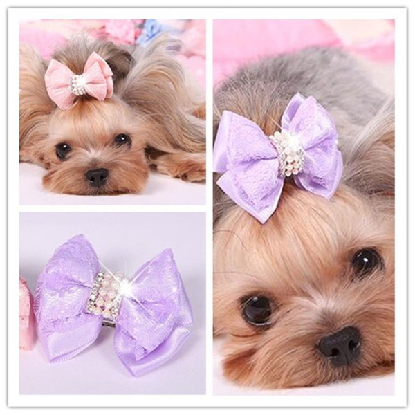 2018 New Pet Cats Grooming Accessories Clips Lace Diamond Hair Clip DIY handmade pet dog cat Hair bow Hairpin