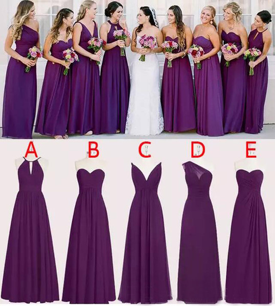 Perfect Chiffon Purple Bridesmaid Dresses Floor Length A Line Long Wedding Bridesmaid Dresses Custom Made Sleeveless EN1241