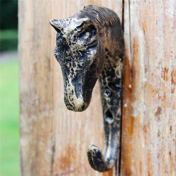 4 Peças de Ferro Fundido Cabeça de Cavalo Ganchos de Metal Pátio Pátio Pátio Gancho Jardim Cabide Chave Bronze Vintage Country Wall Mount Decoração Animal