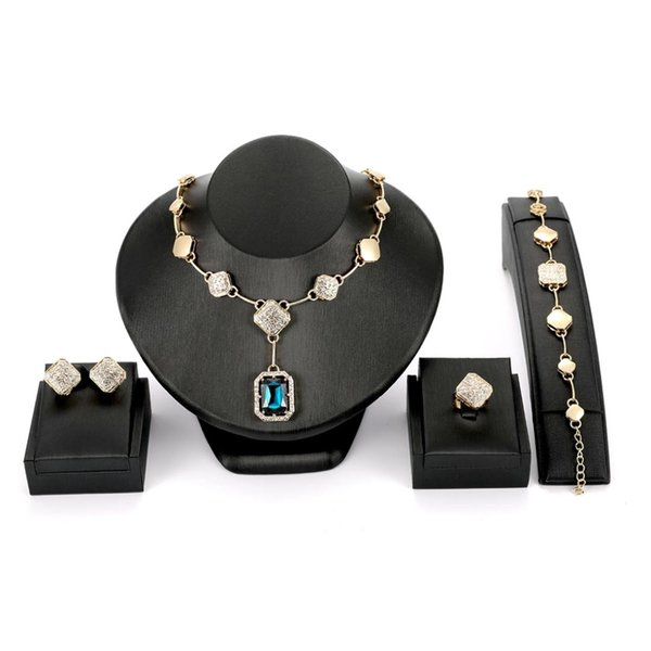 Moda oro lujoso collar pulsera anillos choker collares conjunto de joyas para las mujeres joyería de la boda