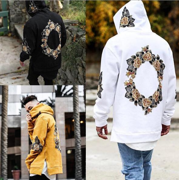 Wholesale-New Design Flower Embroidery Hoodies Men Hip Hop Side Split hoody Sweatshirts Hooded Pullover long sleeve Jumper tops