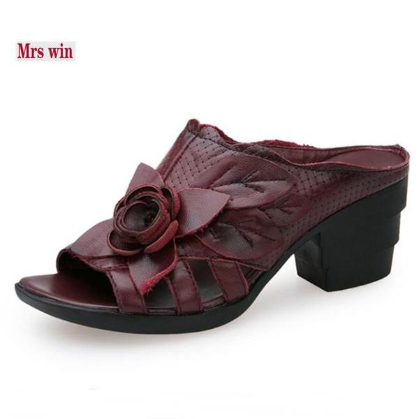 New 2018 Summer Elegant Flower Cow Leather Shoes Women Sandals Slipper Hollow Comfortable Women Slipper Fashion sandals Shoes