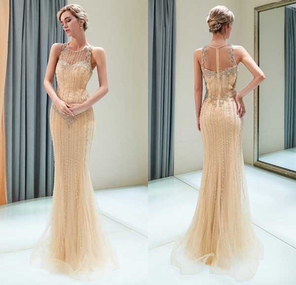 Real Photos 2019 Luxury Gold Designer Evening Dresses Mermaid Crew Neck Sleeveless Full Beading Crystal Prom Party Pageant Gowns CPS2269