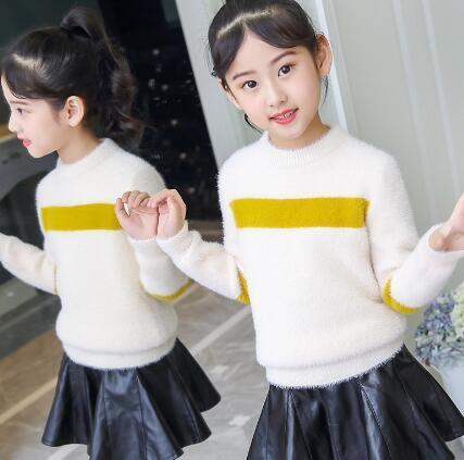 Maglioni delle ragazze 2018 autunno inverno nuova versione coreana abbigliamento per bambini ragazze maglione lavorato a maglia maglione testa per bambini