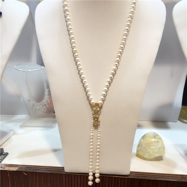 Hand knotted natural 3-4-8-9mm white freshwater pearl long sweater chain flowers zircon accessories necklace fashion jewelry