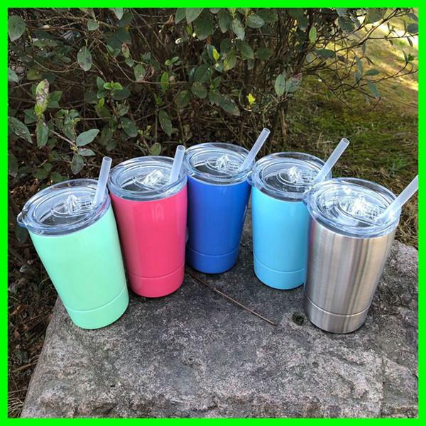 9oz 12oz Edelstahl-Trinkbecher mit Strohhalm und Deckel 304 S.S. Metallautobecher Trinkwasserbecher Saftflaschen Kaffeebecher