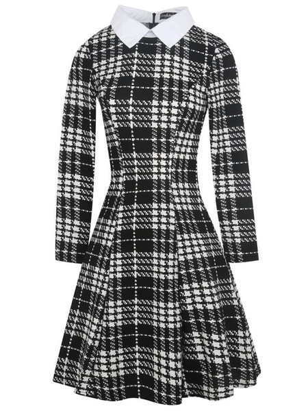 Hot Selling Women Plaid Casual Dress Peter Pan Collar Long Sleeves Houndstooth Ball Gown Plus Size One Piece Dress