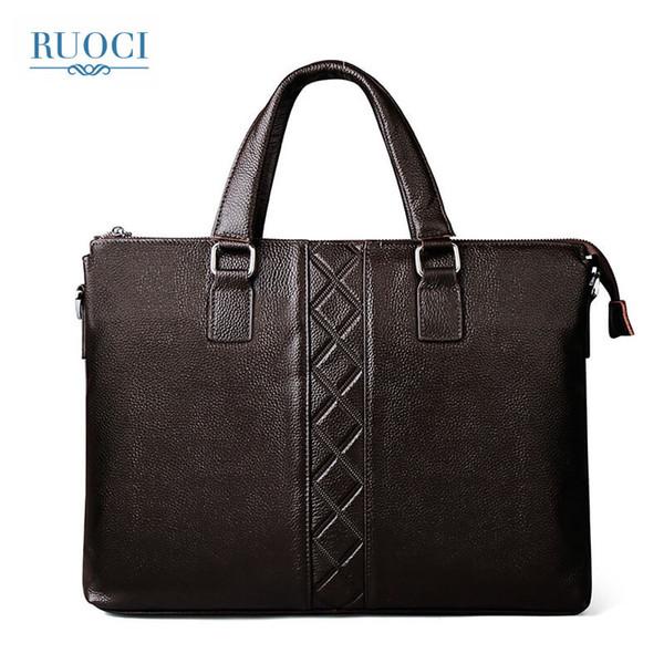 RUOCI Vintage Laptop Briefcase Male Messenger Shoulder Bags Mens Briefcases Genuine Leather Handbag Men's Bag Mens Office Bags