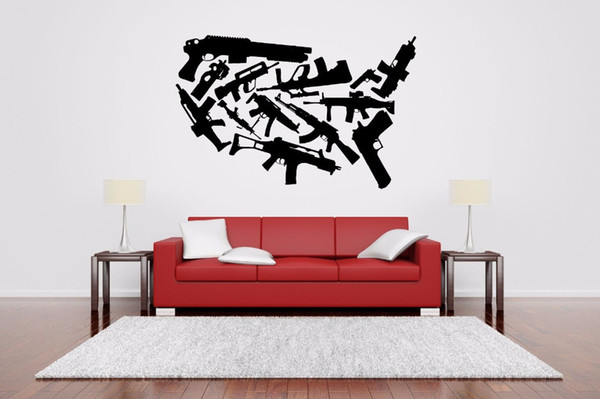 Machine Gun Set Rack Wall Sticker for living room boys room bedroom home wall decoration