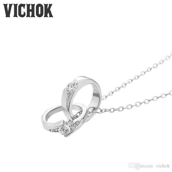 Platinum/Rose Gold Color Circle Pendant Necklace Bling Zircon Statement Necklace Choker Necklaces For Women bijoux femme High Quality VICHOK