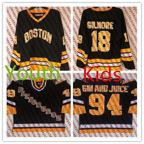 new products 261c8 8cae4 2019 Youth #94 GIN AND JUICE Snoop Doggy Dogg Pittsburgh Penguins Jerseys  Kids #18 Happy Gilmore Boston Bruins Film Hockey Jersey S 3XL From ...