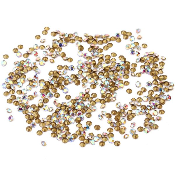 50gram/lot(about1440pcs) Rhinestone Gem Flatback Apical Circle Shape Black Red Rose-red Color Crystal Loose Diamond Beads For Clothing Decor