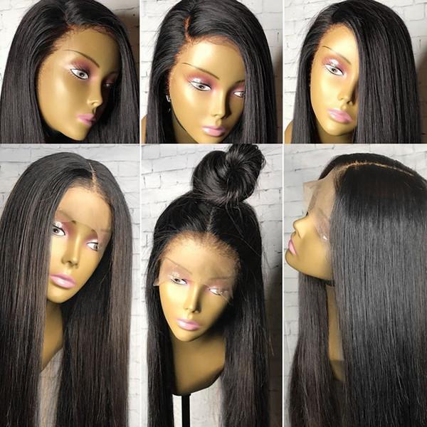 Moda Macio Lace Wigs Preto de Seda Em Linha Reta Perucas Longas para As Mulheres Negras Resistente Ao Calor Glueless Dianteira Do Laço Sintético Perucas com o Cabelo Do Bebê