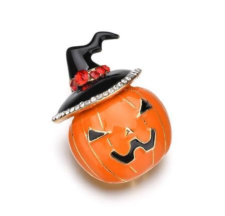 Halloween Enamel Pumpkin Brooch Pins, Unisex Cute Funny Rhinestone Hat Pin Jewelry Gift for Men Women