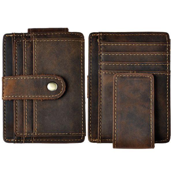 Male Original Leather Design Fashion Travel Slim Wallet Front Pocket Magnetic Large Capacity Money Clip Card Case For Men 1025