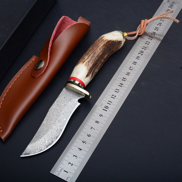 Handmade Damascus Fixed Blade Knife 58HRC Antler Handle Tactical Camping Hunting Survival Pocket EDC Tools with Leather Sheath Collection