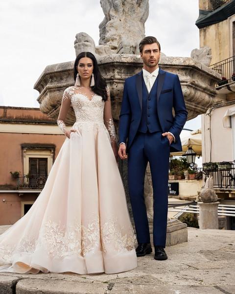 Projeto elegante Dos Homens da Festa de Casamento Traje Azul Royal Pico Lapela Três Peças (Blazer + Calça + Colete) Noivo Ternos Smoking Negócios Formal