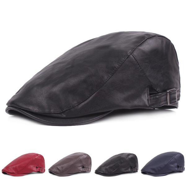 Waterphoof Pu Leather Beret Hat Unisex Men's Nesboy Cap 2018 Hot Selling Blank Adjustable Flat Bill Cap