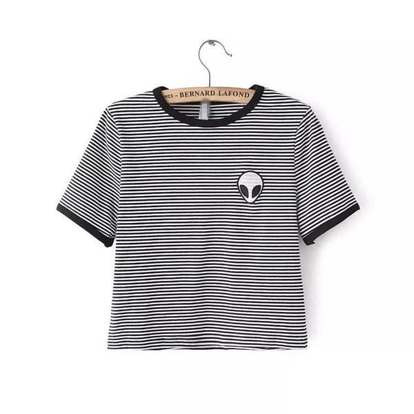 Wholesale-Alien T Shirt Women Crop Top Tee Shirt Femme Poleras De Mujer Cropped Tops For Women Cotton Embroidery Tshirt Cute Camisetas