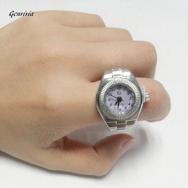 Genvivia Finger Ring Uhr 2018 Mode neue Zifferblatt Quarz Analog Stahl Coole elastische kreative Quarzuhr Montre Femme