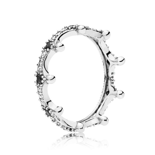 925 Sterling Silver Enchanted Crown with Clear and Black CZ Ring Fit Pandora Charm Jewelry Engagement Wedding Lovers Fashion Ring For Women