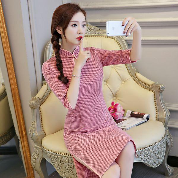 Sexy Traditional Chinese style Summer New Cotton Cheongsam Dresses Women Mandarin Collar Silm Qipao dress Size S-3XL