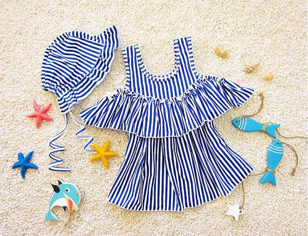 Kids Stripe Hat Débardeur Robe de maillot de bain Luxury Adorable Infantil Cute Ruffle Swimsuit Bébé fille Bath