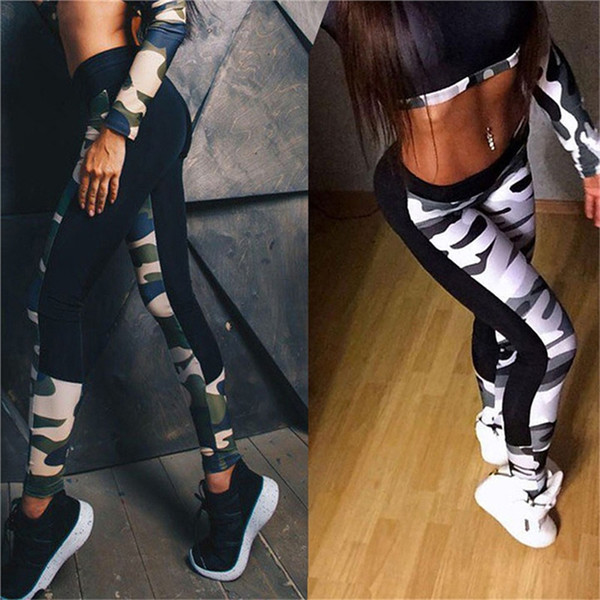 New Spring 2018 Fitness Women Leggings Workout Pants Summer Sporter Skinny Camouflage Elastic Slimming Casual Women Leggings