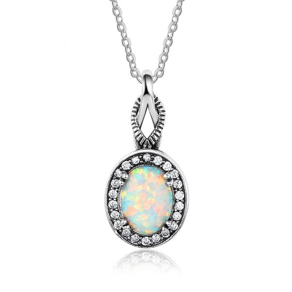 Top quality Popular Fashion 925 Sterling Silver with Simulated Opal Crystal palms Pendant Necklace(With 45CM Chain)#NE101928
