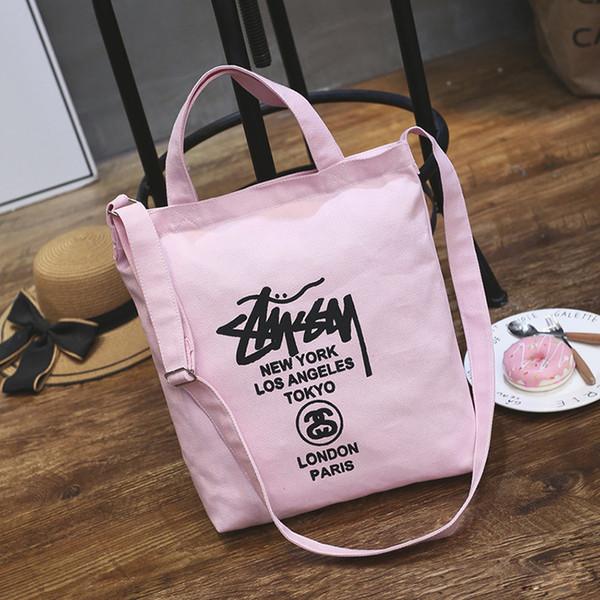 Venta al por mayor 2019 más nueva moda rosa casual portátil chica honda mochila compras bolsas de lona con cremallera cuadrada