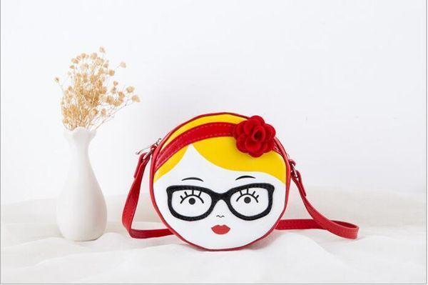 2018 Nuovo modello Personalizzato Circolare alla moda in vera pelle Sorridente Baby Girl Coin Purse Kids Single Shoulder Bag Mini cartella obliqua