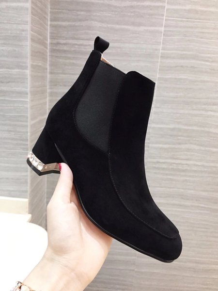 Thick High Heels booties Woman 2018 Flock Platform Female Ankle Boot Zip Women Shoe Female Winter Footwear bota feminina
