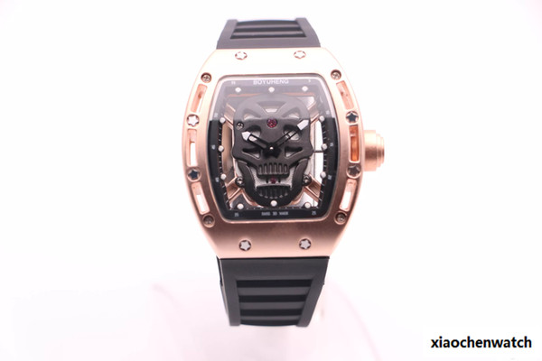 BOYUHENG 052 man cool watch black skull dial man's brown rubber brown Circle gold steel case quartz watch