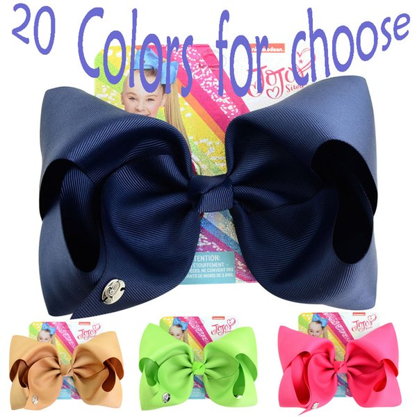 20 Styles Solid Color Bows Hair Clip JOJO Children Bowknot Hairpin Girls Barrettes Kids Baby Boutique Hair Accessories Xmas Party Gift H947F